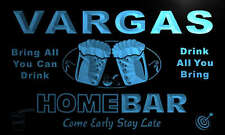 p1260-b Vargas Personalized Home Bar Beer Family Name Neon Light Sign