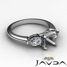 Genuine Diamond Engagement Three Stone Ring Platinum 950 Pear Round Mount 0.5Ct