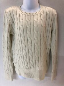 Polo Ralph Lauren Junior Girls Cable Knit Sweater Navy Ivory Fuchsia