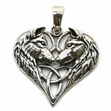.925 Solid Sterling Silver Wolf Wolves Heart Celtic Triquetra Dog Pendant P038