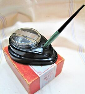 VTG ESTERBROOK DIPLESS INKWELL & DIPLESS GREEN MARBLED FOUNTAIN PEN IN BOX~407