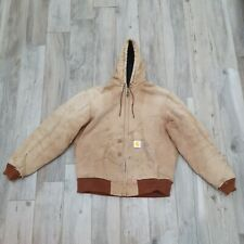 Vintage Carhartt Chore Sandstone Workers Hooded Active Jacket Size Large