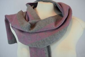 NWT! $349! Authentic Gucci GG 100% Wool Reversible Polina Scarf Pink Grey