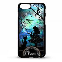 Alice in wonderland personalised name silhouette art vtg phrase phone case cover