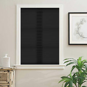 """Cordless Non Woven Fabric Pleated Quick Fix Window Shade Blinds Black 48""""x72"""""""