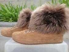 UGG ANTOINE Fur Sneaker Boot Bootie Chestnut Lace up, Comfy Women's US Size 6.5M