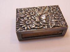Antique Sterling Silver Repousse Match Vesta Safe Holder Box Case, S Kirk & Son