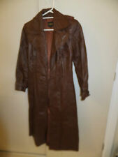 Vintage Retro Womens Ankle Length Brown Leather Coat Hullabaloo 1969 #2030