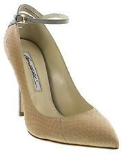 Brian Atwood Zelina snake skin two tone ladies pumps heels shoes size 36.5 Italy
