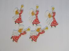 10 Pretty Blonde Angels 35 x 28mm Wood Sewing craft Buttons scrapbook