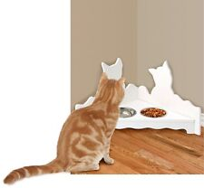 White Corner Cat Feeding Station – Cat Food Bowls Set & Stand – Cat Dishes