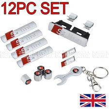 12 PCS S Line Emblems Chrome Metal Badge Stickers All Sets For AUDI A3 A4 A6 S4