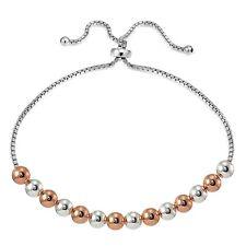 Rose Gold over Sterling Silver Two Tone 6mm Bead Adjustable Bracelet