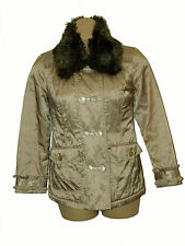 BNWT size Large PER UNA FauxFURCOLLAR Ladies JACKET M/C WASH+WATER REPELENT GOLD