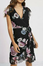 Lipsy Black Floral Print Frill Mesh Wrap Dress Size 8 Garden Party RRP£55 BNWT