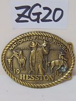 VINTAGE HESSTON NATIONAL FINALS RODEO BELT BUCKLE ALL AROUND COWBOY 9TH 1982