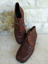 Cole Haan Women's Brown Woven Leather Lace Up Ankle Boots Size 6 1/2 AA