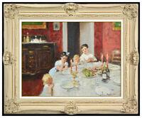 Jules R Herve Original Oil Painting On Canvas Children Portrait Framed Signed