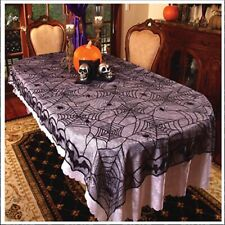 Black Premium Lace Spiderweb Halloween Party Tablecloth Table Cover Decoration Q