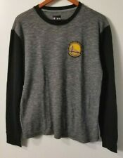 Mens Med NBA Golden State Warriors Long Sleeve Black Thermal T Shirt Satin Patch