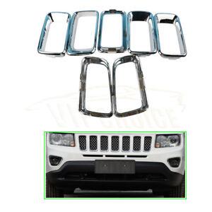 68109865A For Jeep Compass 2011-Chrome Front Bumper Grille  Molding Trim Set
