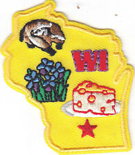 """""""WI"""" -  WISCONSIN STATE SHAPE PATCH-Iron On Embroidered Applique/Cheese,"""