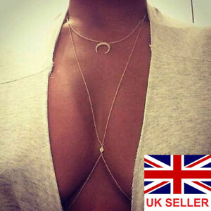 Gold Body Chain Harness Jewellery Bikini Waist Belly Chest Beach Necklace Bra 2#