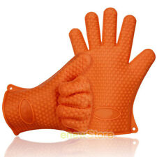 2 Barbecue Heat Resistant Silicone Gloves Oven Kitchen Grill BBQ Cooking Mi