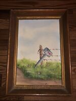 Original Mid Century Miniature Farmscape Mailbox Rustic Oil Painting