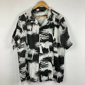 Thrills Mens Linen Button Up Shirt XL White Palm Trees Short Sleeve 62.30