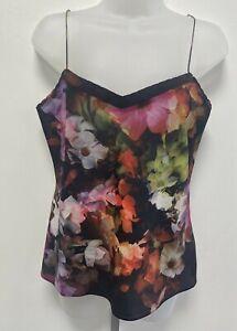 Ted Baker Medium UK12-14 Eur40-42 US8-10 black floral crepe camisole top