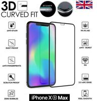 For iPhone XS MAX 3D Curved Full Cover Screen Protector Tempered Glass Black