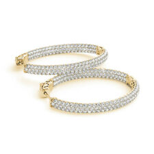 3.12 Ct Genuine Diamond Hoop Earrings 14K Solid Yellow Gold Stud Clarity SI1