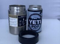 YETI Rambler Silver 12 oz Colster Can Insulator with Stash Can & Sticker - NEW