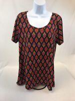 LuLaRoe Women's Black/Orange/Pink Triangle Pattern Classic T-Shirt Sz L