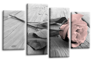 """FLORAL ROSE CANVAS WALL ART LARGE PINK GREY WHITE LOVE 4 PANEL SET 1 44 x 27"""""""