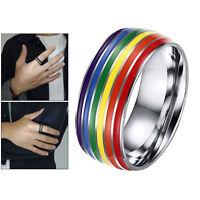 Männer Frauen 8mm Edelstahl Regenbogen LGBT Pride Ring für Lesben