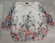 Ladies F&F Floral / Butterfly Print Blouse, Cream, Pale Blue, Pink, Size 12