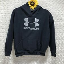 Under Armour Boys Pull Over Hoodie Size YLG Cotton Blend Black Sweatshirt ir6029