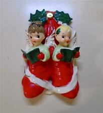 Vintage Napco Christmas Angels in Stockings 1950s Wall Plaque Hanging Decor
