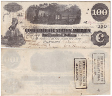 1862 $100 Confederate States Notes T-40 Cr-298 Diffused Steam Extra Fine Stock