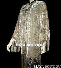 Beige Silk Burnout Velvet Fringe Jacket Kimono Bolero Maya Matazaro