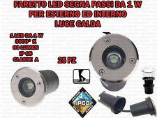 25 FARI INCASSO LED 1W ESTERNO LUCE CALDA SEGNA PASSO CALPESTABILE IP68 GIARDINO