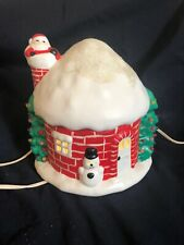 Vintage Christmas Lighted Ceramic Round House Santa In Chimney Holiday Decor