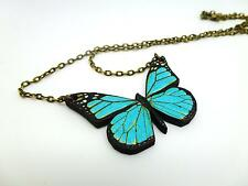 BEAUTIFUL VIBRANT BRIGHT BLUE WOODEN BUTTERFLY ANTIQUE BRONZE NECKLACE PENDANT