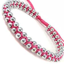 Womens Pink Silver Link Ball Wristband Bracelet Friendship Trendy Festival WB41p