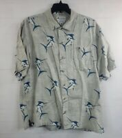 Columbia Men's Large S/S Button Down Marlin Blue Grey Fishing Camp Shirt Pocket