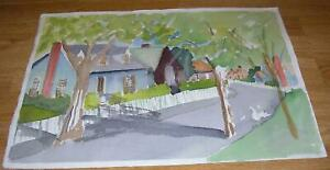 VINTAGE FOLK ART PRIMITIVE HOUSES STREET TREES ABSTRACT LANDSCAPE W/C PAINTING