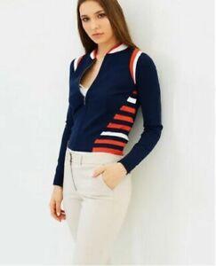 Karen Millen Navy Red Sporty Stripe Knitted Stretch Cardigan Jumper Top S 10 38