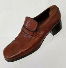 Charles Jourdan Vintage 70s Disco Platform Brown Leather Chunky Heel Shoes 9.5D